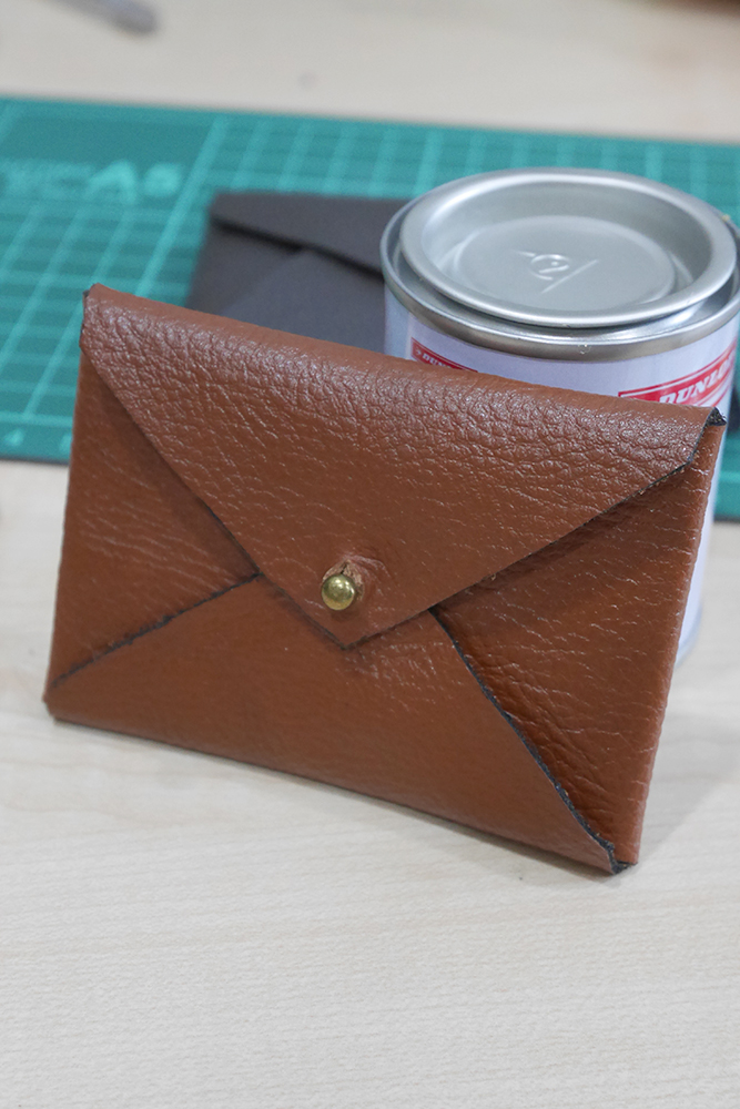 Card sized leather envelope case