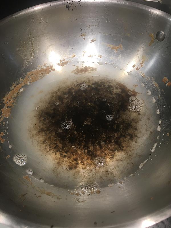 burnt stainless steel pan bottom