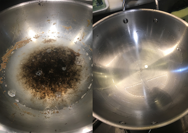 Cleaning a burnt stainless steel pan (Oopsie)
